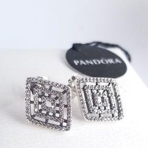PANDORA Earrings Geometric Lines Sterling Silver